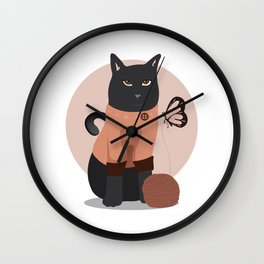 Gato y mariposa Wall Clock
