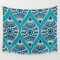 morocco Wall Tapestries featuring Morocco in Teal by PeriwinklePeacoat