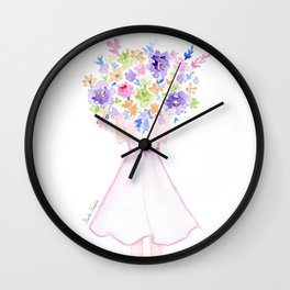 GIRL HOLDING BOUQUET OF FLOWERS / THANK YOU / CONGRATULATIONS / BIRTHDAY Wall Clock