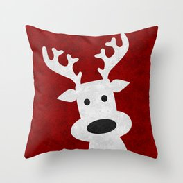 Christmas reindeer red marble Throw Pillow