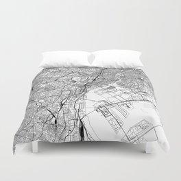 Tokyo White Map Duvet Cover