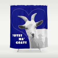 totes Shower Curtains featuring Totes Ma Goats - Blue by BACK to THE ROOTS