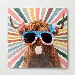 Bubble gum Highland cattle sunglasses in sun retro Metal Print