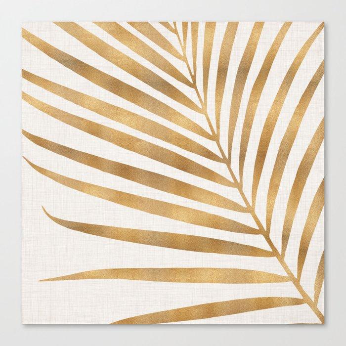 Metallic Gold Palm Leaf Leinwanddruck