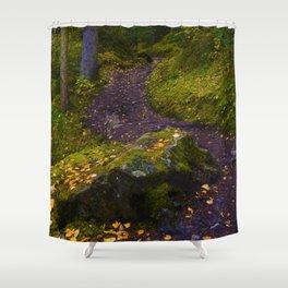 Walking along the Berg Lake Trail in Fall Shower Curtain