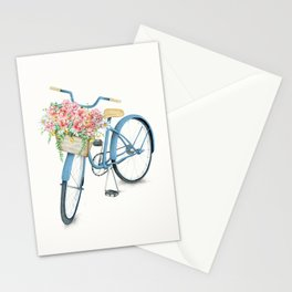 Blue Bicycle with Flowers in Basket Stationery Cards