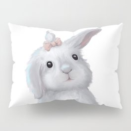 White Rabbit Girl isolated Pillow Sham