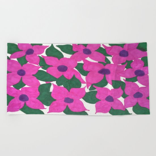 Spring Classic Pink Flowers Beach Towel