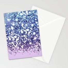 Sparkly Mermaid Blue Purple Lilac Ombre Stationery Cards