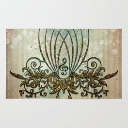 Clef with decorative floral elements Rug
