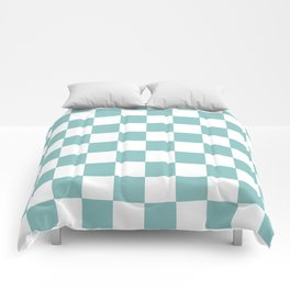 Chalky Blue Checkers Pattern Comforters