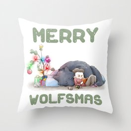 Wolfsmas Throw Pillow