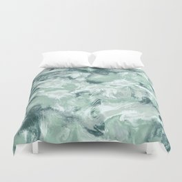 Marble Mist Green Grey Duvet Cover