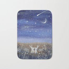 Hares and the Crescent Moon Bath Mat