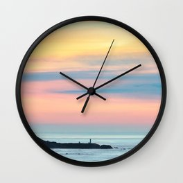 Sunset Overlooking the Yaquina Head Lighthouse Wall Clock