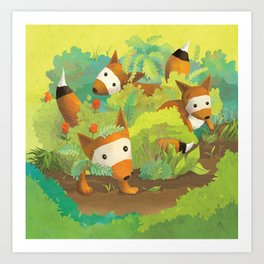 Babies in Bushes Art Print