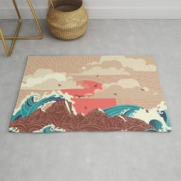 Stylized big waves of ocean or sea at sunset landscape Rug