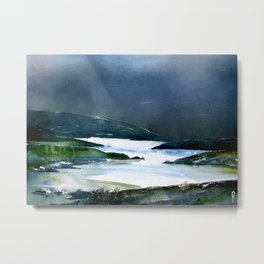 Icy white waters in forest black onyx mountains Metal Print
