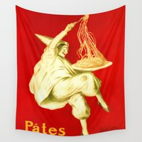 pasta Wall Tapestries featuring Pasta Baroni Leonetto Cappiello by aapshop