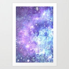 Grunge Galaxy Lavender Periwinkle Blue Art Print