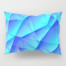 Abstract celestial pattern of blue and luminous plates of triangles and irregularly shaped lines. Pillow Sham