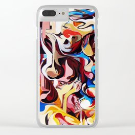 Expressive Abstract People Composition painting Clear iPhone Case