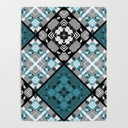 Black blue patchwork Poster