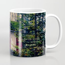 Cabin in the Woods (Emerson quote) Coffee Mug