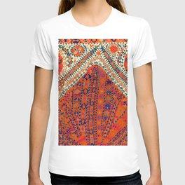 Orange Wildflower Sunshine III // 18th Century Colorful Rusty Red Bright Blue Metallic Happy Pattern T-shirt