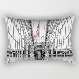 The Brooklyn Bridge and American Flag Rectangular Pillow