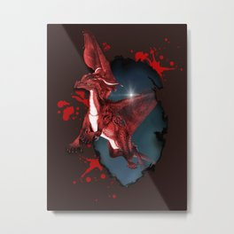 Cute Dragon in red Metal Print