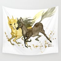 horses Wall Tapestries featuring Horses by JoJo Seames