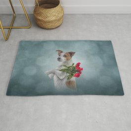 Jack Russell Terrier dog holds a bouquet of flowers Rug