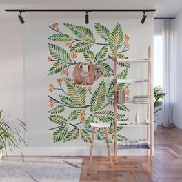 Happy Sloth – Tropical Green Rainforest Wall Mural