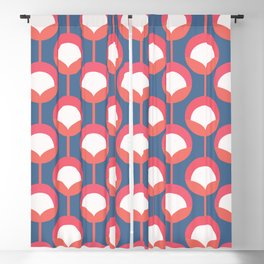Retro flower buds / Brittany Blue and Living Coral Blackout Curtain