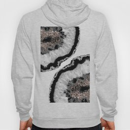 Gray Black White Agate Glitter Glamor #4 #gem #decor #art #society6 Hoody