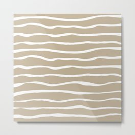 Sand Dune Paper Stripes Organic Pattern in White and Neutral Flax Metal Print