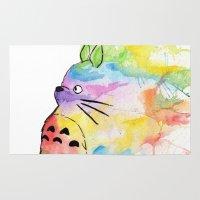 miyazaki Area & Throw Rugs featuring My Rainbow Totoro by scoobtoobins