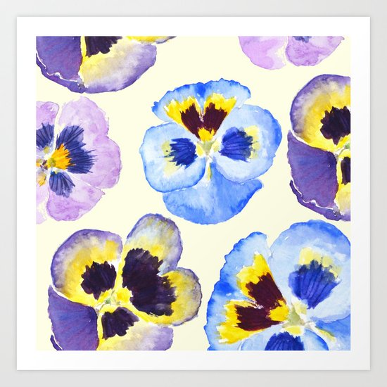 pansies pattern watercolor painting Art Print