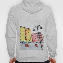 Colored buildings with street lamps Hoody