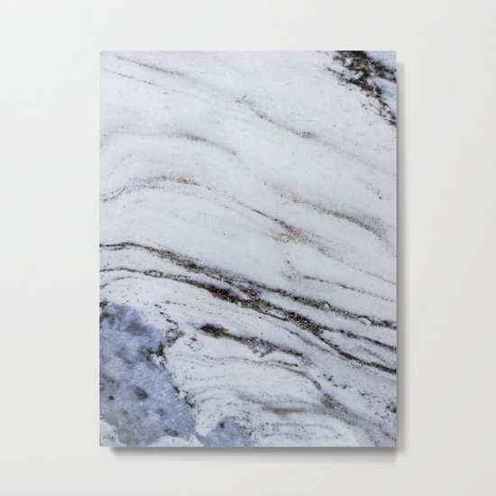 White Marble with Blue Metal Print