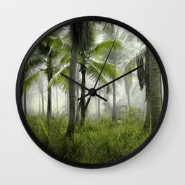 Foggy Palm Forest Wall Clock