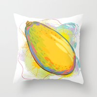 vietnam Throw Pillows featuring Vietnam Papaya by Vietnam T-shirt Project