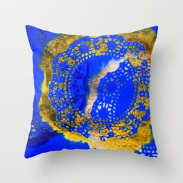 Royal Blue and Gold Abstract Lace Design Throw Pillow