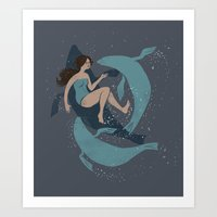 nautical Art Prints featuring nautical by Louise Hubbard