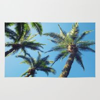 palm trees Area & Throw Rugs featuring Palm Trees by Jillian Stanton