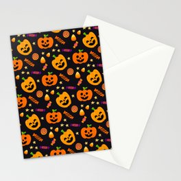 Happy halloween pumpkin, candies and lollipops pattern Stationery Cards