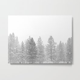 Snow Day // Black and White Winter Landscape Photography Snowing Whiteout Blizzard Metal Print