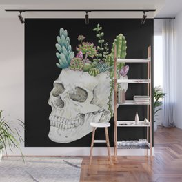 """""""Garden of Thought"""" - Skull and Flowers Wall Mural"""