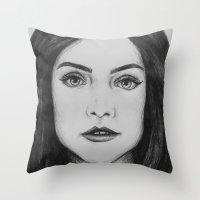 jenna kutcher Throw Pillows featuring Jenna Coleman biro portrait by Eleanor Dapre